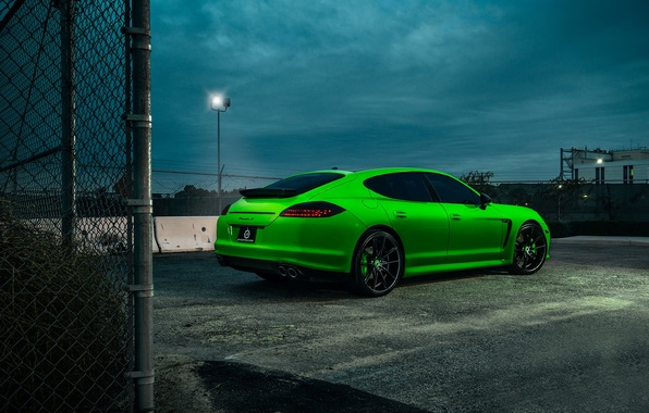 Picture Porsche, Panamera, Car, Green, Wheels, Rear, Rides, Tined