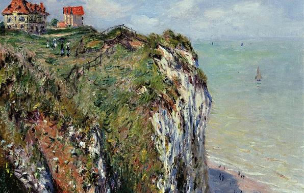 Picture landscape, house, open, picture, Claude Monet, Rock in Dieppe