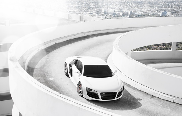 Picture white, the city, Audi, Audi, Parking, white, Blik