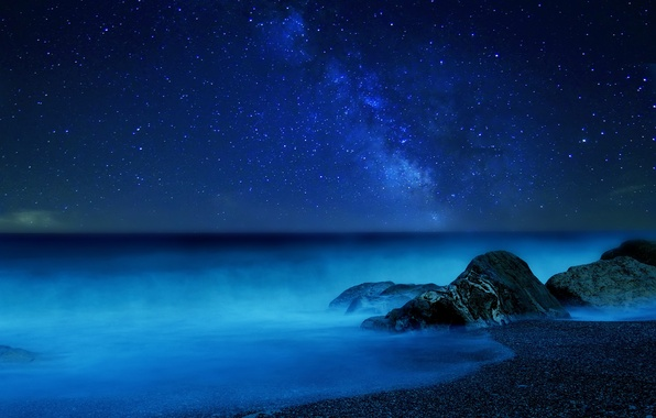 Picture sea, the sky, stars, night, fog, the milky way