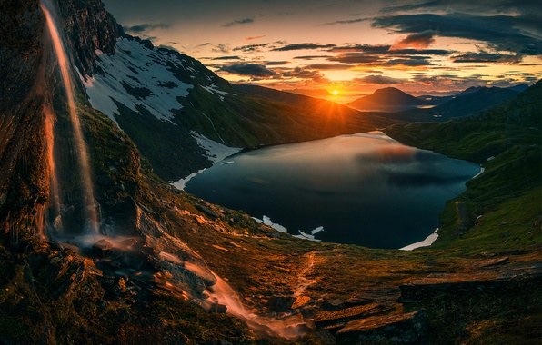Picture Sunset, Sunrise, Mountains, Norway, Northern, Lake