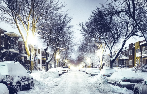 Picture winter, road, snow, machine, the city, street, home, the evening, Canada, lights, Canada, Quebec, QC