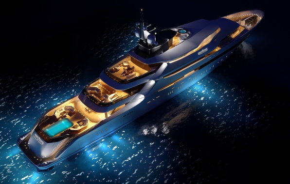 Picture sea, yacht, concept, night, superyacht, Y708, upview, oceAnco