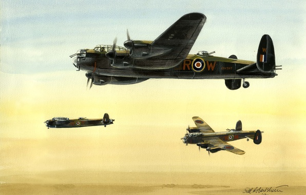 Picture figure, art, bomber, British, heavy, four-engine, Avro Lancaster