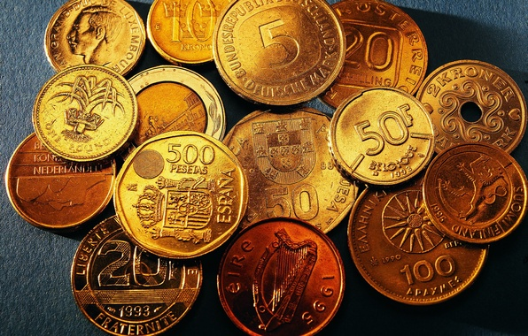 Picture coins, Money, date, different values