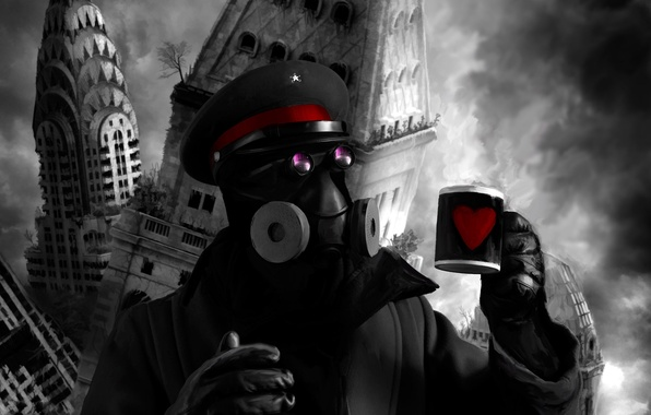 Picture the city, figure, the building, destruction, mug, gas mask, captain, skyscraper, comic, zee, romance of …