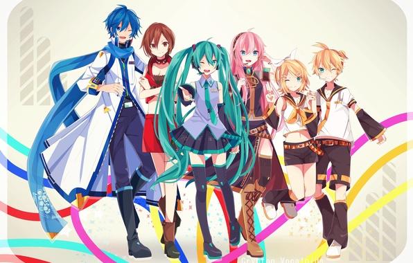 Picture girls, anime, headphones, art, microphone, guys, vocaloid, hatsune miku, megurine luka, kagamine rin, kagamine len, …