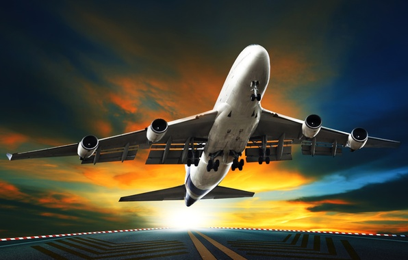 Picture the sky, asphalt, the sun, clouds, the plane, runway, passenger, takes off