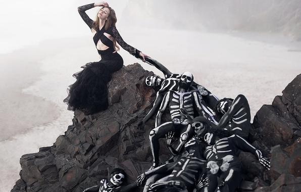 Picture girl, skeletons, Skeleton Queen