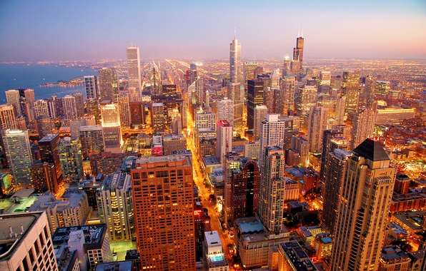 Picture city, the city, dawn, skyscrapers, Chicago, morning