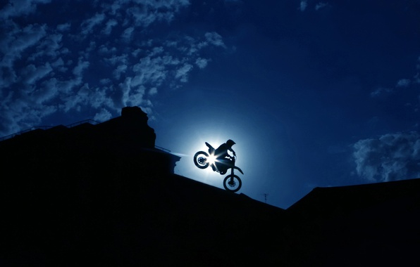 Picture the sky, clouds, the city, people, Moto, silhouette, maneuver, biker, extreme, night, bike, racer, the …