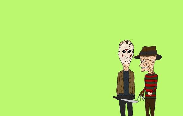 Picture minimalism, Jason Voorhees, the trick, Freddy Krueger, machete, Freddy Krueger, Beavis and Butt-head, Beavis and ...