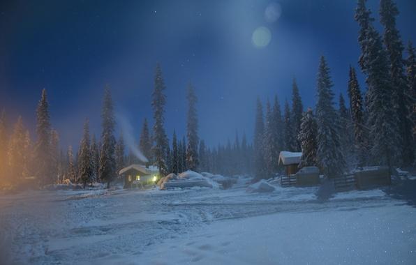 Picture winter, snow, trees, night, Sweden, village, Sweden, Lapland, Lapland, Kiruna, Kiruna