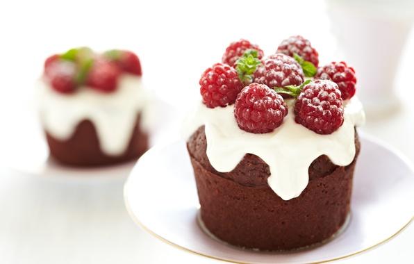 Picture raspberry, cake, dessert, cakes, sweet, glaze, cupcake
