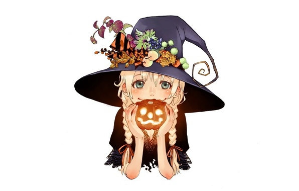 Picture smile, hat, girl, white background, pumpkin, braids, Happy Halloween, hands.lamp