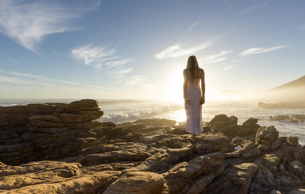 Picture the sun, pose, stones, body, Girl, dress, blonde