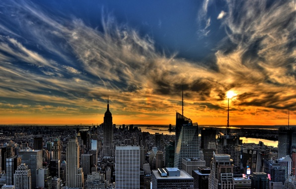 Picture the sky, the sun, clouds, city, Windows, home, skyscrapers, cloud, panorama, USA, States, widescreen Wallpaper, …