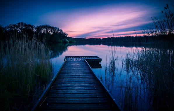 Picture lake, dawn, England, morning, the bridge, Wiltshire