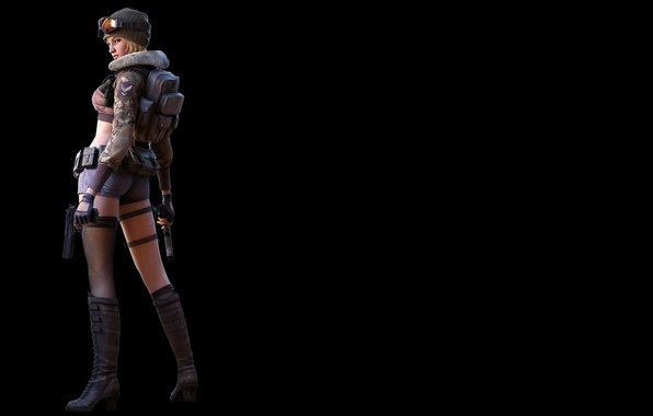 Picture look, girl, rendering, weapons, boots, black background