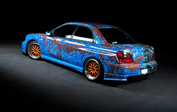 Picture fish, Subaru, WRX, airbrushing, STI, Subaru