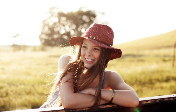 Picture summer, girl, smile, mood, hat