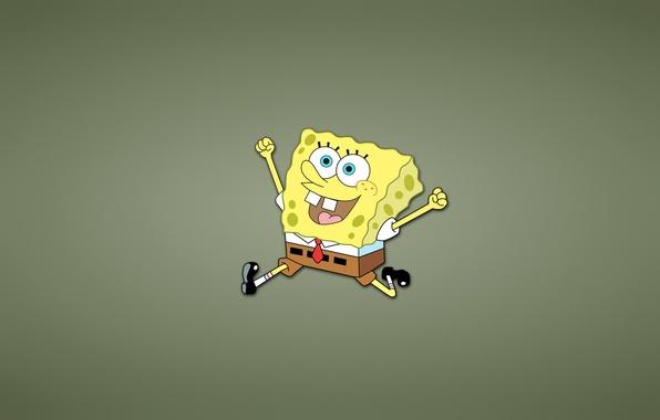 Picture yellow, smile, runs, happy, SpongeBob SquarePants, Sponge Bob square pants