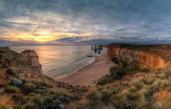 Picture landscape, sunset, nature, the ocean, rocks, Victoria, Australia, national Park, Port Campbell