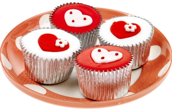 Picture white, red, holiday, heart, feelings, hearts, sweets, cake, Valentine's day, delicious, Valentine's day