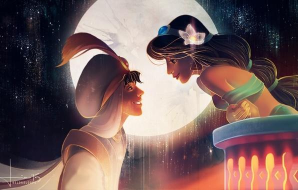 Picture flower, the sky, girl, smile, the moon, art, guy, Aladdin, jasmine, aladdin, kelogsloops