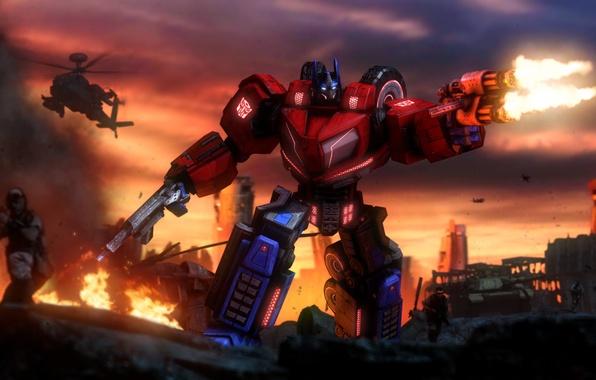 Picture earth, war, ruins, transformers, optimus prime, autobots