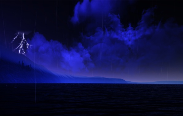Picture sea, the sky, clouds, night, clouds, lightning