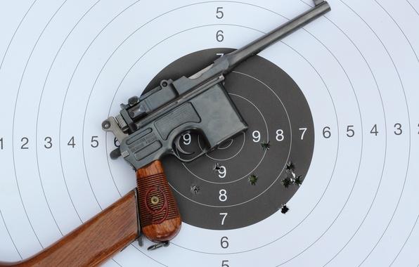 Picture metal, gun, pistol, wood, bullet, performance, target, holes., aim, red nine, target gun, Mauser C-96