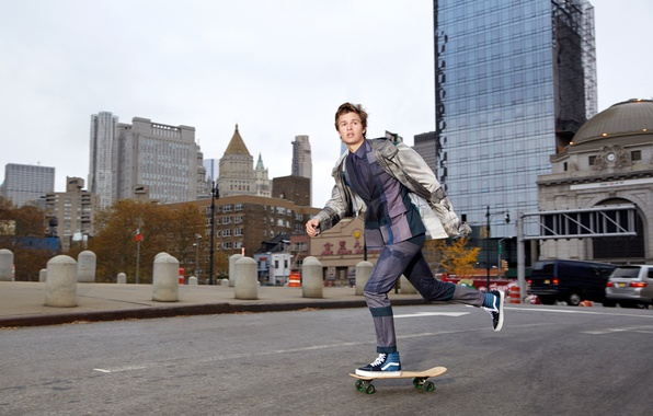 Picture road, the city, street, sneakers, home, jacket, costume, actor, skate, photoshoot, skateboard, Ansel Elgort, DuJour, …