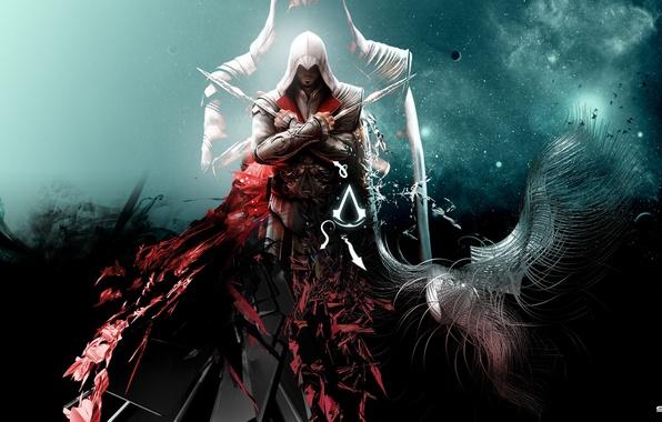 Picture abstraction, background, killer, assassin, assassin, Ezio auditore da Firenze, ezio auditore da firenze, the creed …