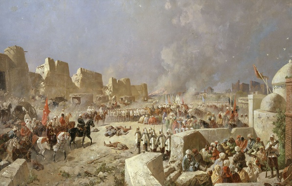 Picture soldiers, painting, Empire, The entry of Russian troops in Samarkand, June 8, 1868, Karazin