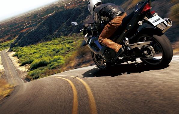 Photo wallpaper road, motorcycle, bike, moto, road, auto walls, slopes, hills