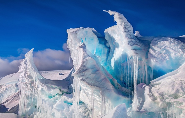 Picture icicles, ice, Antarctica