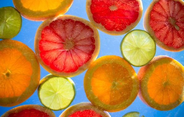 Picture lemon, orange, ring, slice, citrus, grapefruit