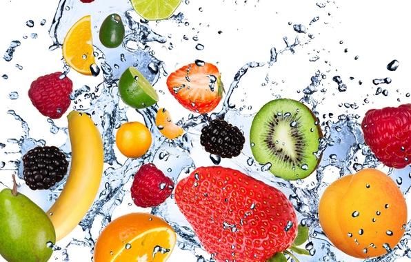 Picture water, drops, squirt, freshness, raspberry, lemon, kiwi, strawberry, lime, lemon, fruit, banana, apricot, fresh, mint, …