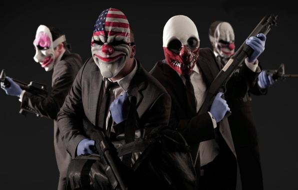 Picture game, weapons, mask, games, clowns, the robbers, payday 2
