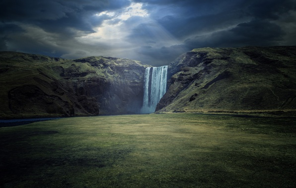 Picture nature, river, waterfall, waterfall, Iceland, Skogafoss, Skoga River