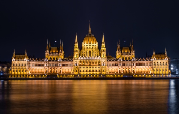 Picture water, light, night, the city, lights, river, the building, lighting, Parliament, Hungary, Hungary, Budapest, The …
