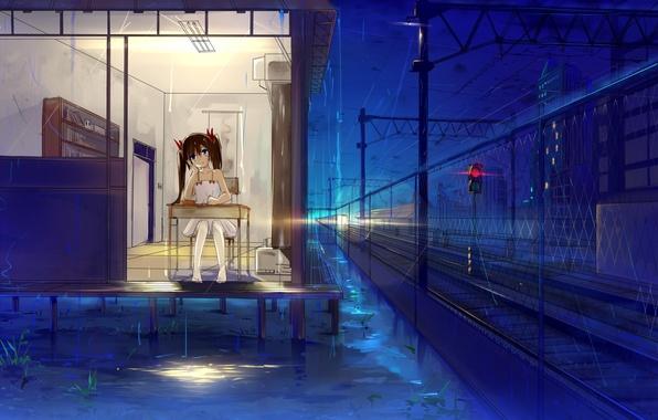 Picture girl, night, house, table, rain, art, traffic light, railroad, sitting, haraguroi you