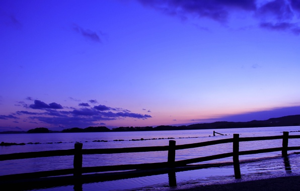 Picture sea, the sky, clouds, sunset, the fence, the evening, Japan, the fence, blue, lilac