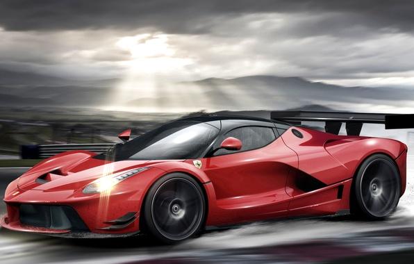 Picture Ferrari, red, profile, LaFerrari