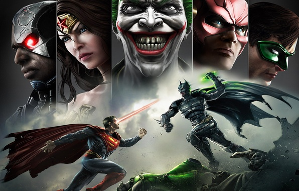 Picture smile, batman, superman, joker, green lantern, flash, Wonder women, Injustice: Gods Among Us