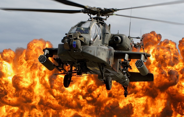 Picture the explosion, fire, helicopter, cabin, blades, Apache, AH-64D, Napalm