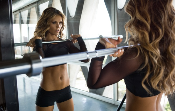 Picture mirror, workout, fitness, weight bar