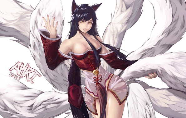 Picture look, girl, gesture, ears, art, Fox, league of legends, tails, ahri, bryan song
