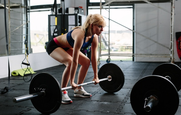 Picture blonde, workout, gym, fitnes
